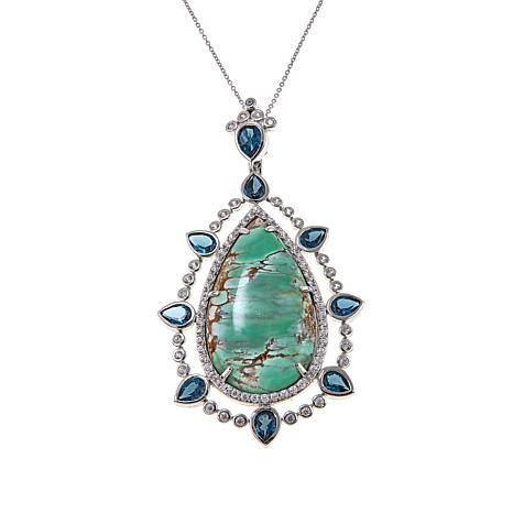 "Rarities Variscite Multigem Pendant with 18"" Oval-Link Chain"