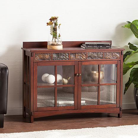 Raylyn Mission Faux Slate Sideboard and Display Curio