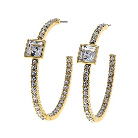 Real Collectibles by Adrienne® Crystal Hoop Earrings