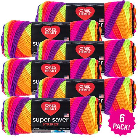 Red Heart Super Saver Yarn 6-pack - Bright Stripe