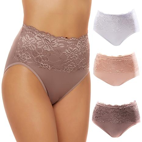 Rhonda Shear 3-pack Seamless Lace Overlay Brief Set