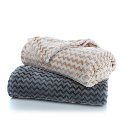 Richard Mishaan Plush Chevron Blanket