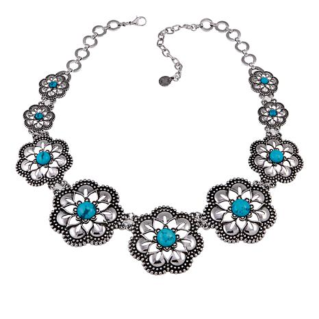 "R.J. Graziano Simulated Turquoise 19-3/4"" Flower Station Necklace"