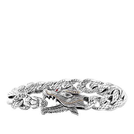 "Robert Manse ""BroManse"" Men's Sterling Silver Dragon Bracelet"