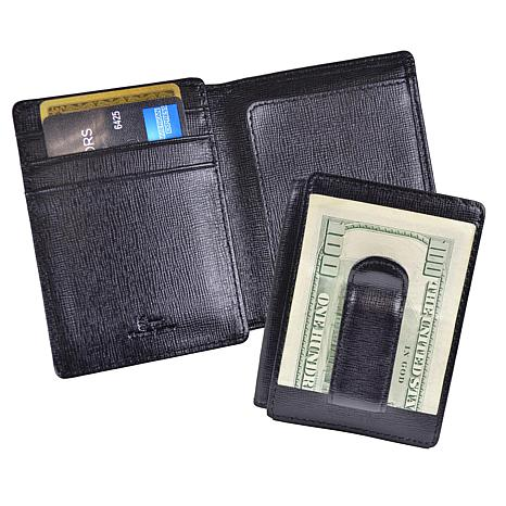 Royce Saffiano Leather Money Clip and ID Window Wallet