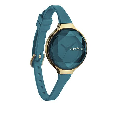 RumbaTime Orchard Mini Goldtone Teal Strap Watch