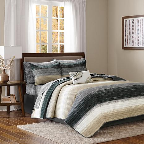 Saben King 8-piece Complete Bed and Sheet Set - Taupe