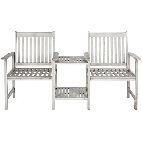 Safavieh Brea Twin-Seat Bench - Ash Gray Finish