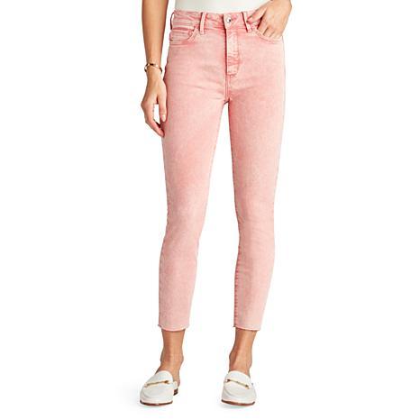 Sam Edelman The Stiletto Crop Bloom Jeans - Coral Tart