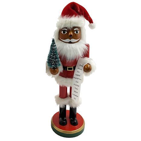 "Santa's Workshop 14"" African American Santa w/Tree & List Nutcracker"