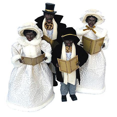 "Santa's Workshop 15""-18"" Black Carolers Figurines - White Dresses"