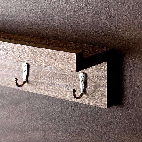 sara wall mount shelf with hooks dark oak