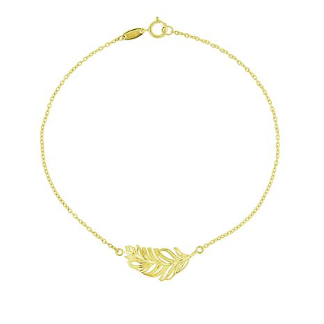 "Séchic 14K Yellow Gold ""Feather"" Chain Bracelet"