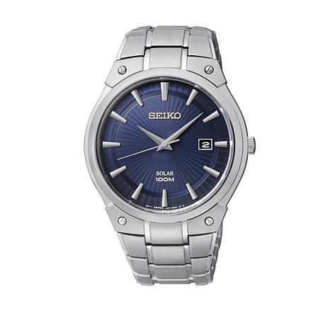 Seiko Men's Blue Dial Silvertone Solar-Powered Watch