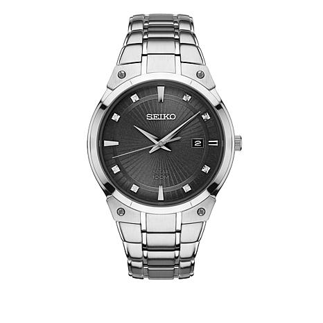 Seiko Men's Diamond-Accented  Black Dial Solar Movement Bracelet Watch