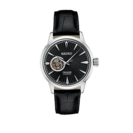 Seiko Presage Men's Automatic Black Leather Strap Watch