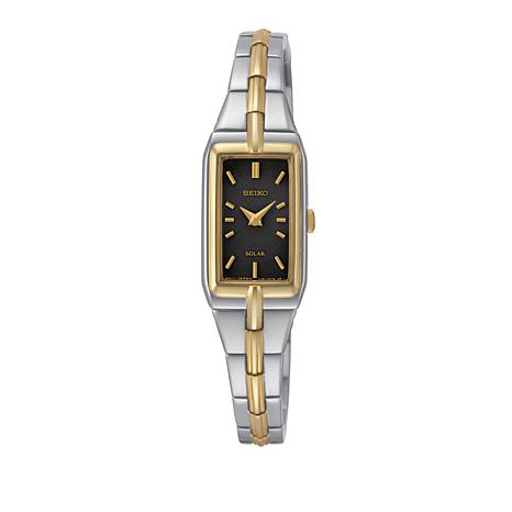 Seiko Women's 2-tone Rectangular Black Dial Solar-Powered Watch