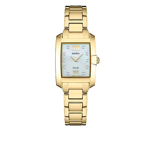 Seiko Women's Goldtone Rectangular Dial Diamond-Accented Watch