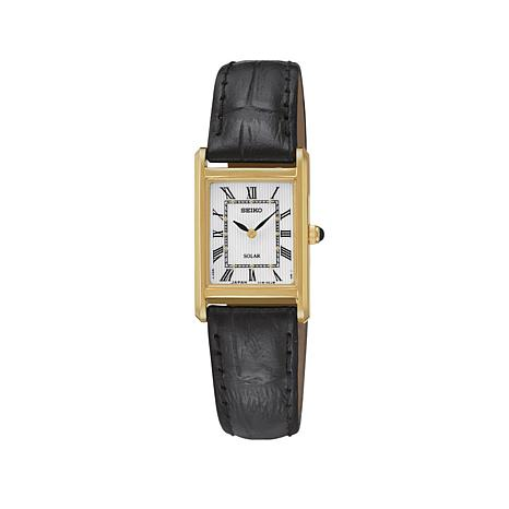 Seiko Women's Square Dial Solar-Powered Black Leather Strap Watch