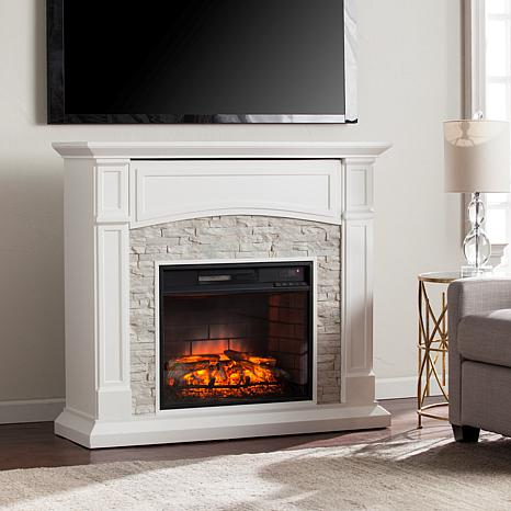 Seneca Electric Infrared Media Fireplace - White