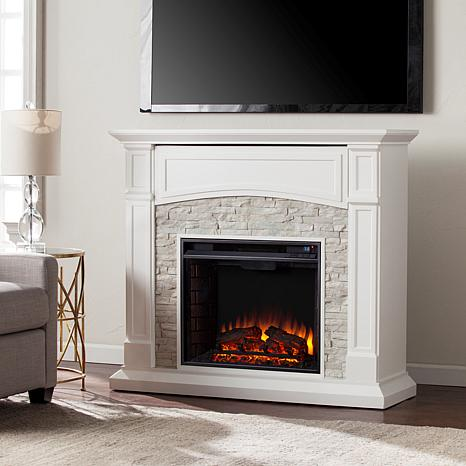 Seneca Electric Media Fireplace - White/Faux Stone