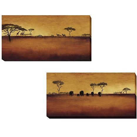 Serengeti  by Tandi Venter 2-piece Gallery-Wrapped Giclee Canvas Wall Art Set - Large  sc 1 st  HSN.com : wrapped canvas wall art - www.pureclipart.com