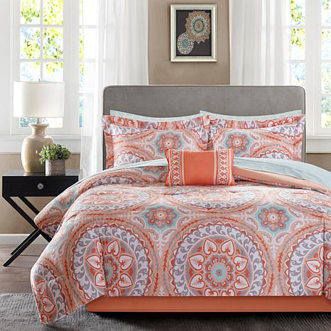 Serenity Cal King 9pc Complete Bed and Sheet Set-Coral
