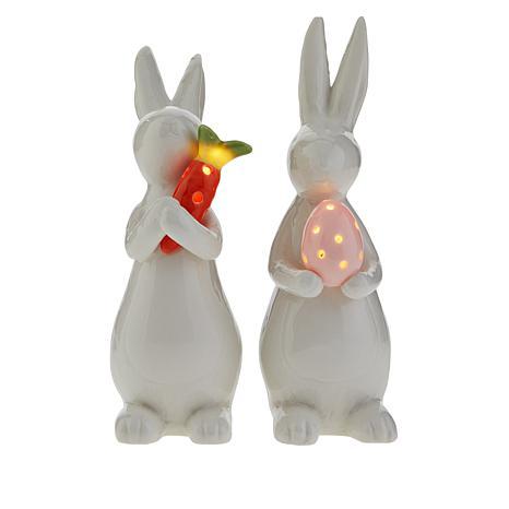 Set of 2 Ceramic LED Bunnies