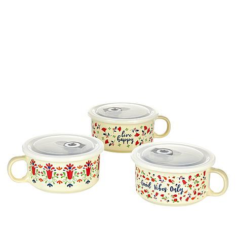 Set of 3 Floral Souper Mugs with Lids