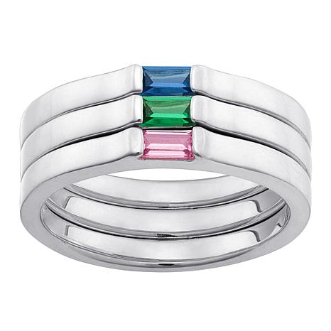 Set of 3 Stackable Sterling Birthstone Crystal Rings