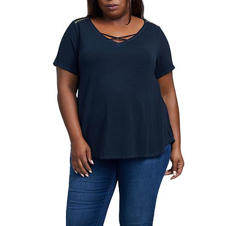 Seven7 V-Neck Shirtail Tee with Trim