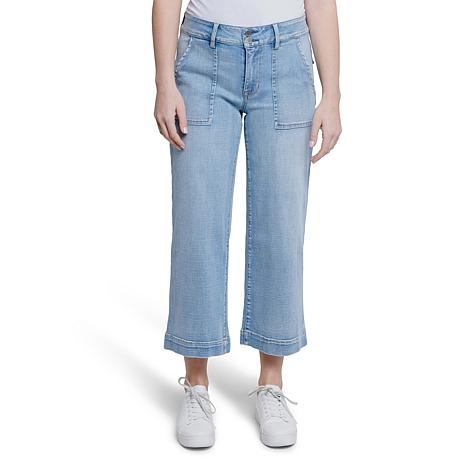 Seven7 Women's Utility Wide Leg Jean with Patch Pockets - Blue Skies