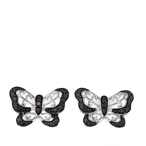 Sevilla Silver™ .02ctw Black Diamond Butterfly Stud Earrings