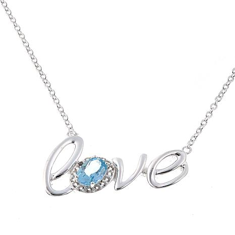 "Sevilla Silver™ 0.53ctw Blue Topaz and White Topaz ""Love"" 18"" Necklace"
