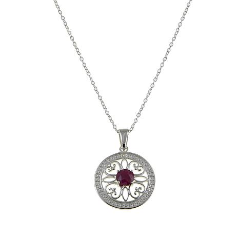 Sevilla Silver™ 0.60ctw Ruby Diamond-Accented Pendant with Chain