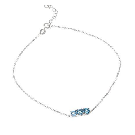 Sevilla Silver™ 0.96ctw Blue Topaz 3-Stone Anklet