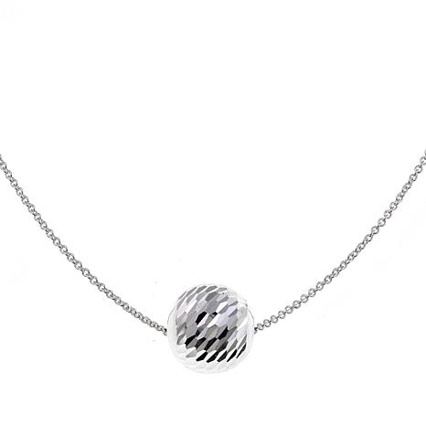 "Sevilla Silver™ 12mm Diamond-Cut Bead 18"" Necklace"