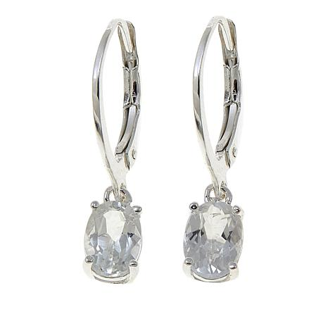 Sevilla Silver 1 52ctw Oval White Topaz Drop Earrings