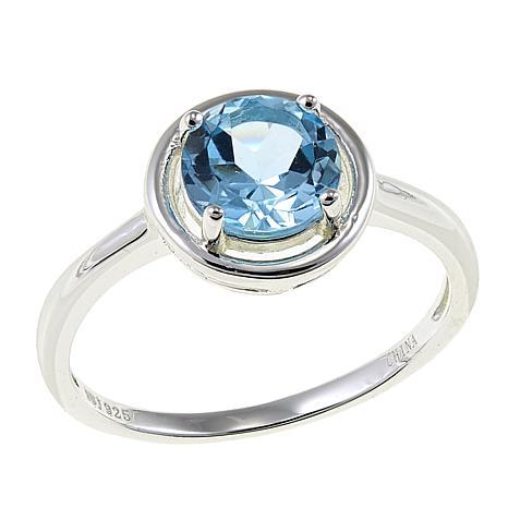 Sevilla Silver™ 1.6ct Round Blue Topaz Ring