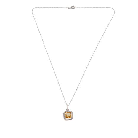Sevilla Silver™ 2.30ctw Cushion-Cut Citrine Diamond-Accented Pendant