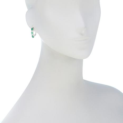 270dbbdf5 Sevilla Silver™ 2.96ctw Emerald and White Topaz 3-Stone Hoop Earrings -  8699579 | HSN