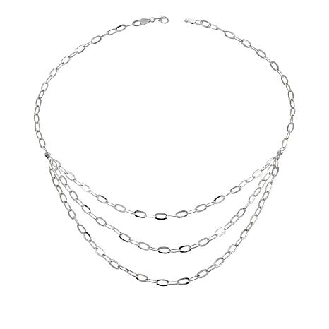 """Sevilla Silver™ 3-Row 20"""" Linked Statement Necklace"""