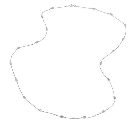 "Sevilla Silver™ 30"" Diamond-Cut Bead Station Necklace"