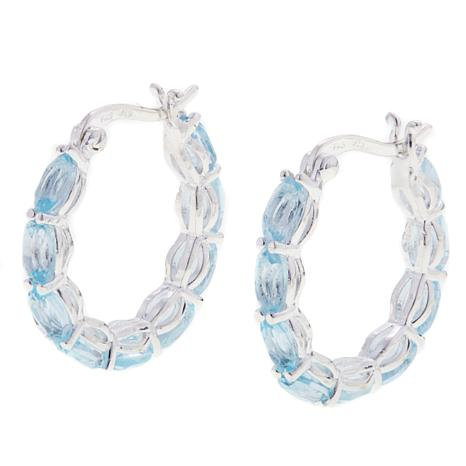 Sevilla Silver™ 4.5ctw Oval Blue Topaz Hoop Earrings
