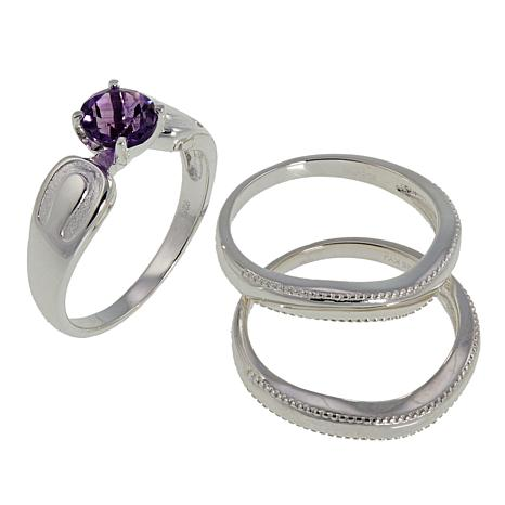 Sevilla Silver™ Amethyst 3-piece Ring Set