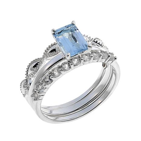 Sevilla Silver™ Blue Topaz and White Topaz 3-piece Ring Set