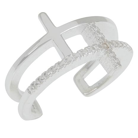 Sevilla Silver™ Diamond-Accented Cross Toe Ring