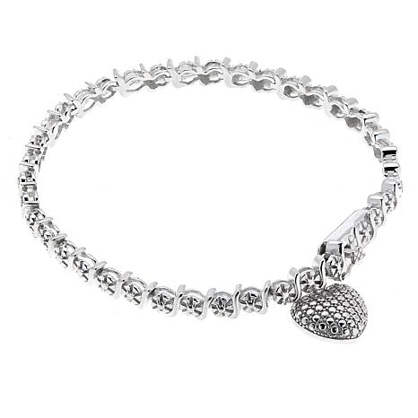 Sevilla Silver™ Diamond-Accented Line Bracelet with Heart Charm