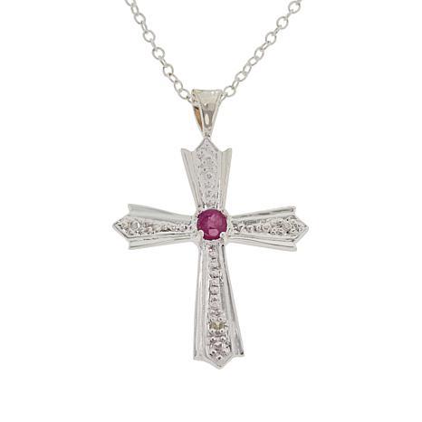 Sevilla Silver™ Diamond-Accented Precious Gemstone Cross Pendant/Chain