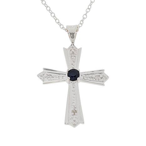 eccdaeffe360ca Sevilla Silver™ Diamond-Accented Precious Gemstone Cross Pendant/Chain -  9134894 | HSN